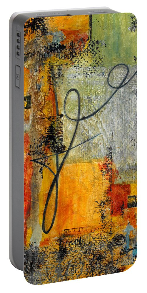 Abstract Portable Battery Charger featuring the painting Invitation To Dance by Ruth Palmer