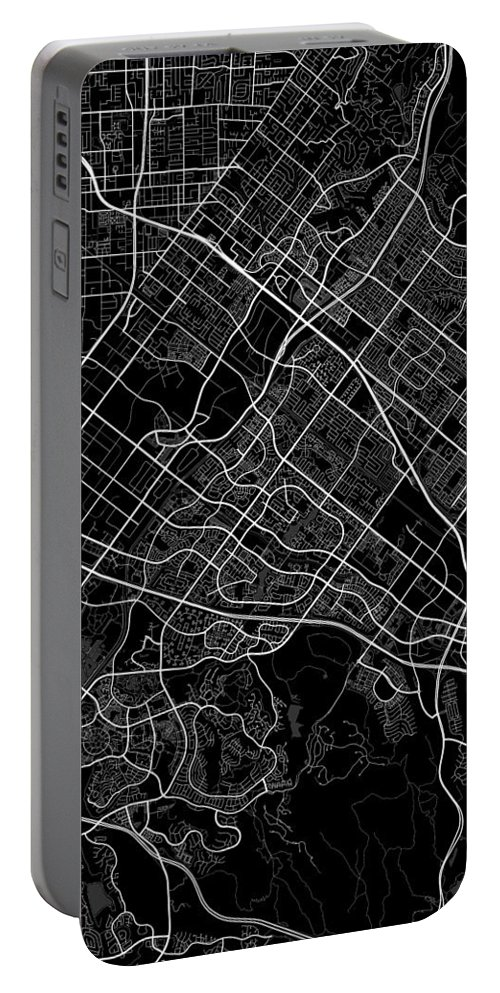 Road Map Portable Battery Charger featuring the digital art Irvine California Usa Dark Map by Jurq Studio