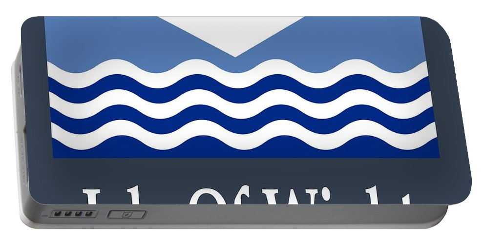 Flag Portable Battery Charger featuring the digital art Isle Of Wight, England Flag And Name by Frederick Holiday