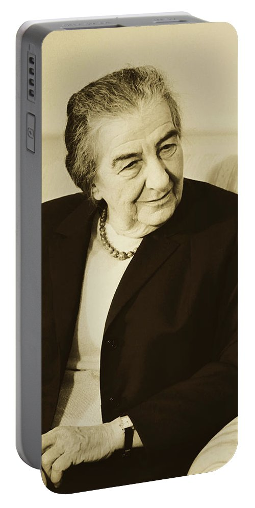 Golda Meir Portable Battery Charger featuring the photograph Israel Prime Minister Golda Meir 1973 by Library Of Congress