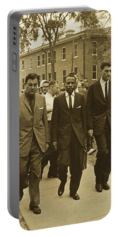 James Meridith Portable Battery Charger featuring the photograph James Meridith And Ole Miss Integration 1962 by Library Of Congress