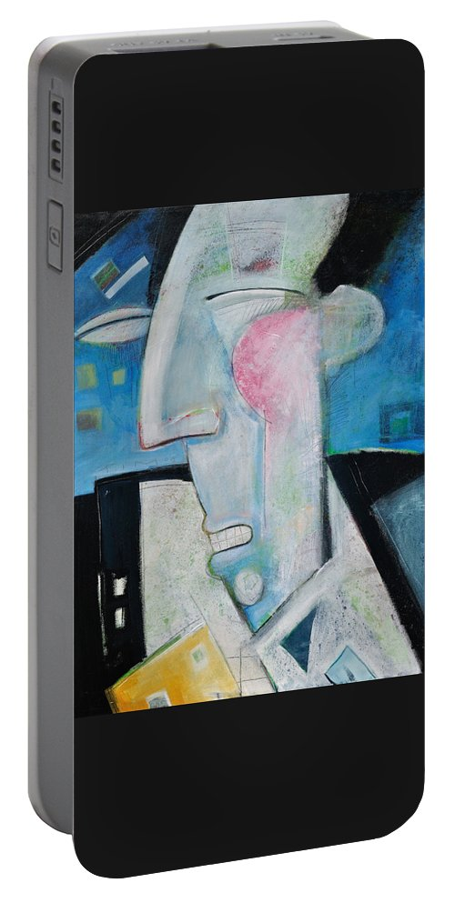 Jazz Portable Battery Charger featuring the painting Jazz Face by Tim Nyberg