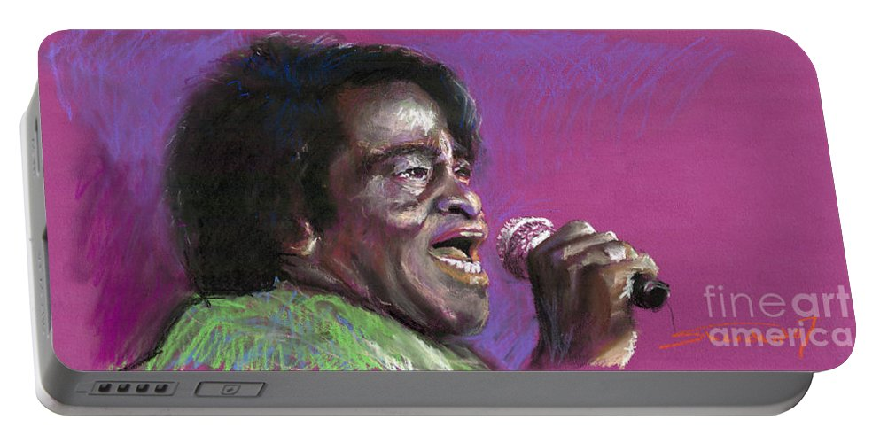 Jazz Portable Battery Charger featuring the painting Jazz. James Brown. by Yuriy Shevchuk