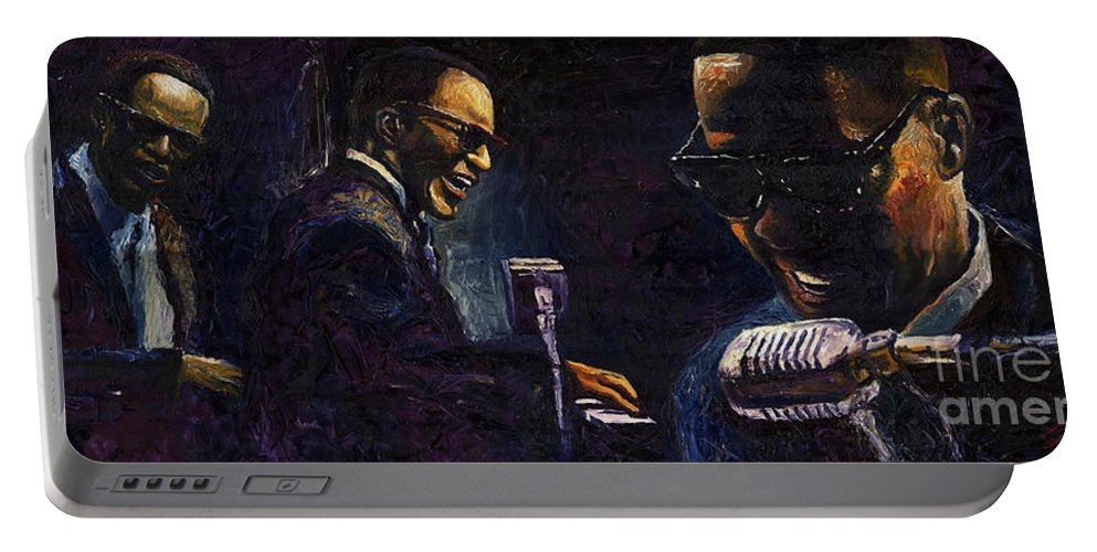 Jazz Portable Battery Charger featuring the painting Jazz Ray Charles by Yuriy Shevchuk