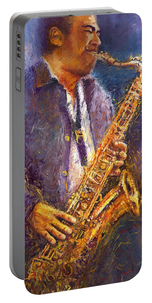 Jazz Portable Battery Charger featuring the painting Jazz Saxophonist by Yuriy Shevchuk