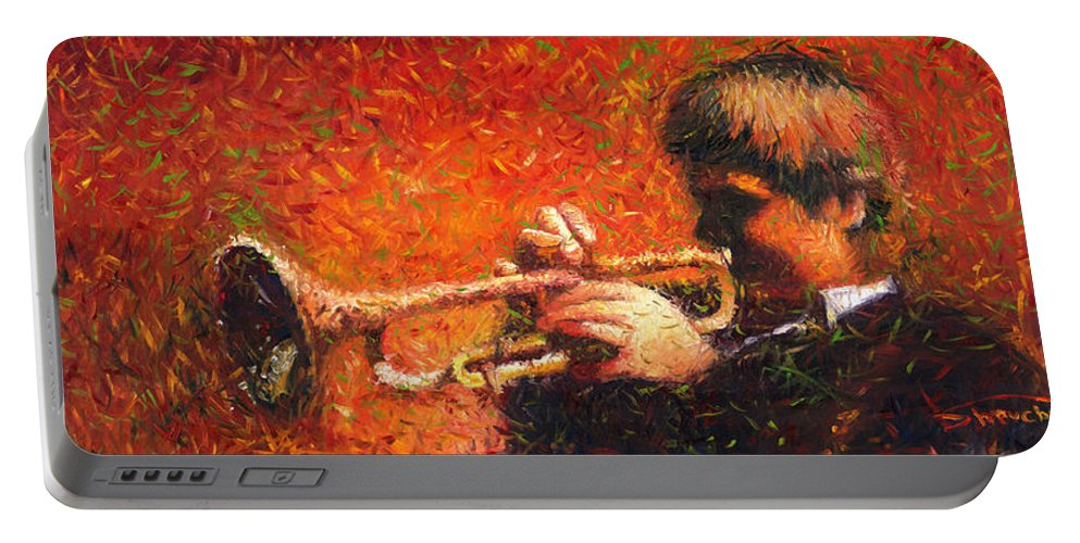 Jazz Portable Battery Charger featuring the painting Jazz Trumpeter by Yuriy Shevchuk