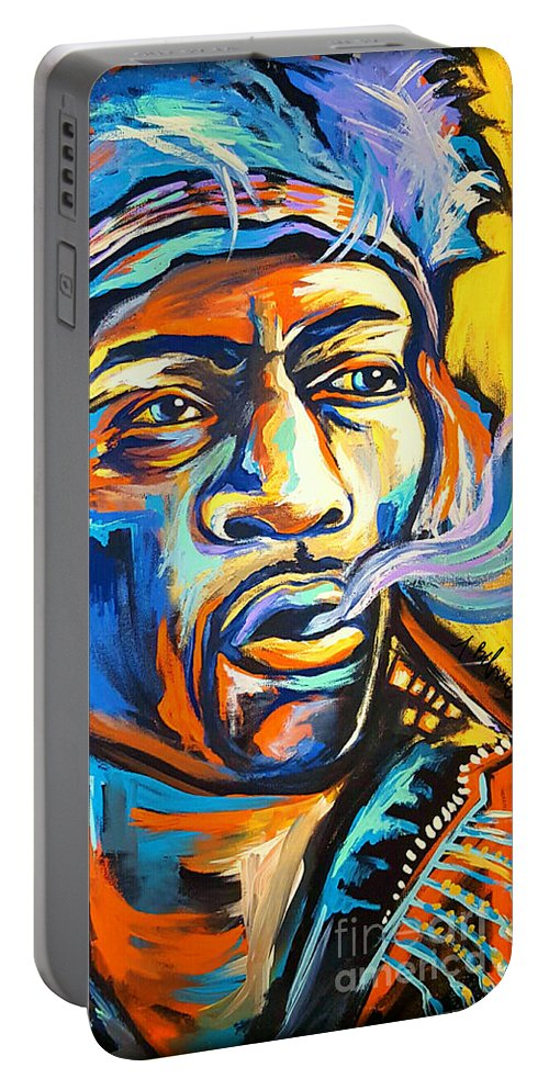 Jimi Portable Battery Charger featuring the painting Jimi Hendrix by Amy Belonio