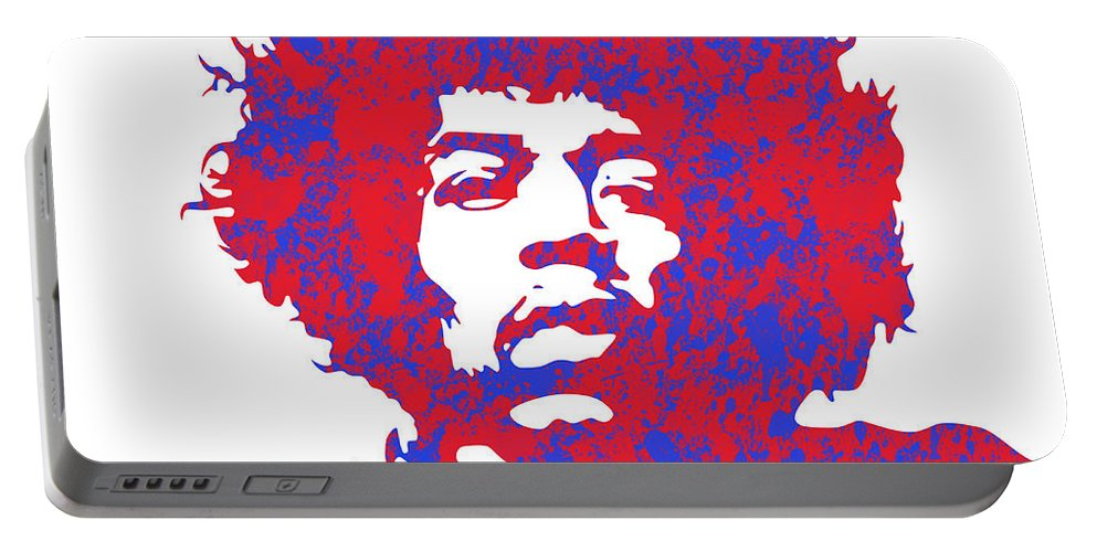 Famous Portable Battery Charger featuring the digital art Jimi Hendrix by Chris Smith