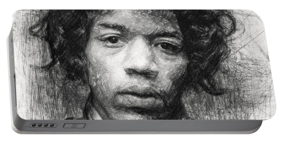 Jimi Hendrix Portable Battery Charger featuring the drawing Jimi Hendrix by Zapista Zapista