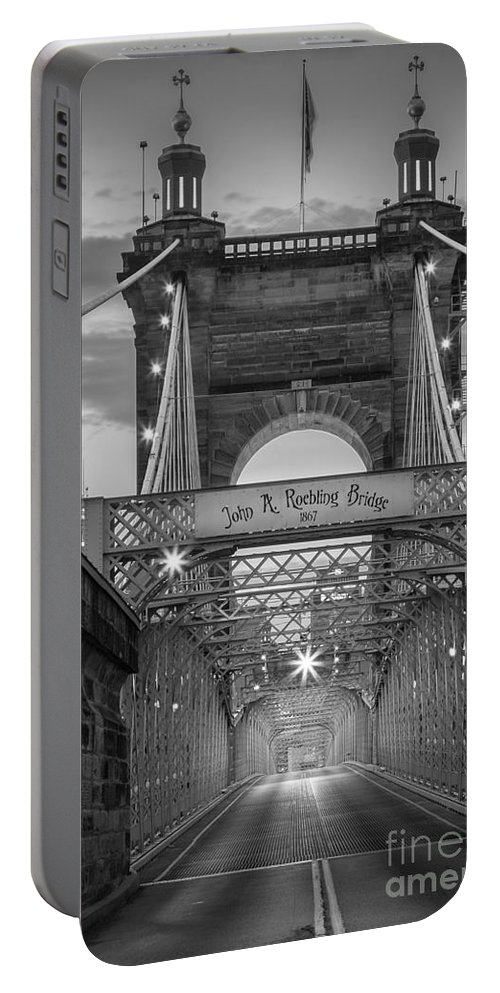 America Portable Battery Charger featuring the photograph John A. Roebling Suspension Bridge by Inge Johnsson