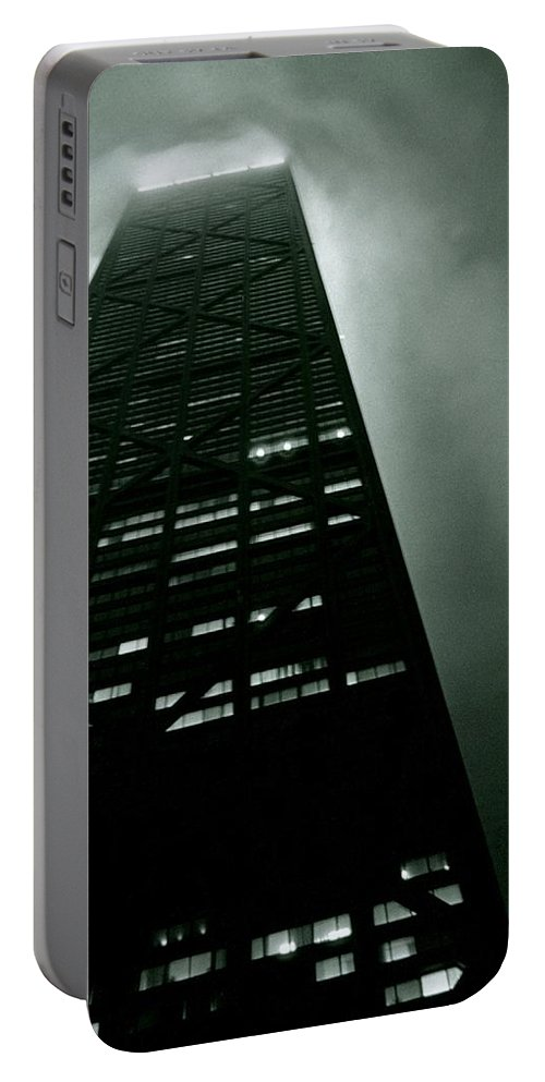 Geometric Portable Battery Charger featuring the photograph John Hancock Building - Chicago Illinois by Michelle Calkins