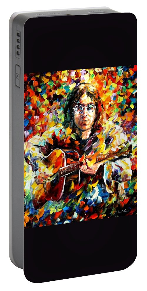 Afremov Portable Battery Charger featuring the painting John Lennon by Leonid Afremov