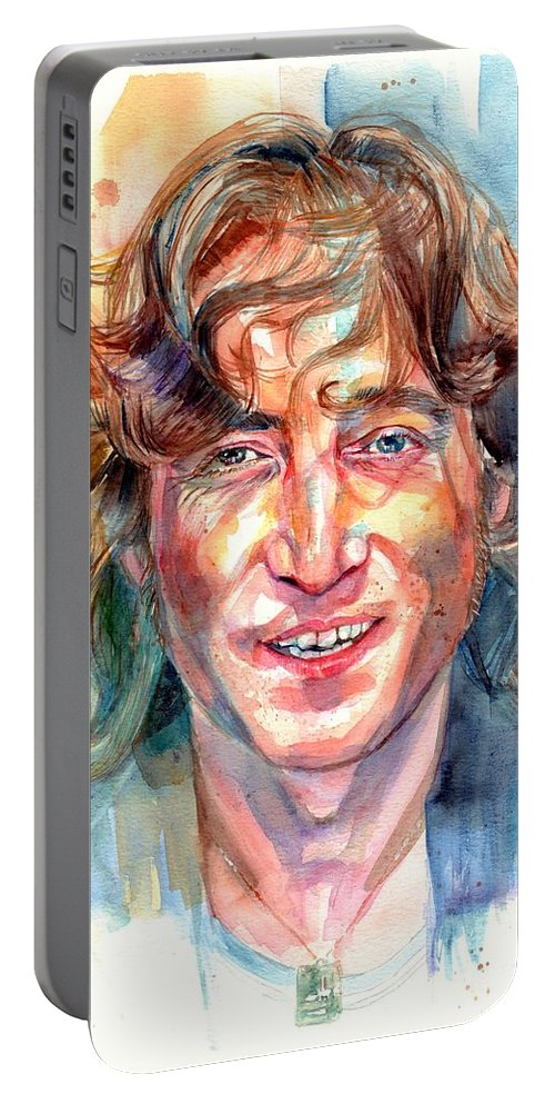 John Lennon Portable Battery Charger featuring the painting John Lennon portrait by Suzann Sines
