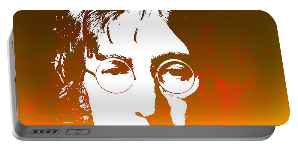 Beatles Portable Battery Charger featuring the photograph John Lennon The Legend by Chris Smith