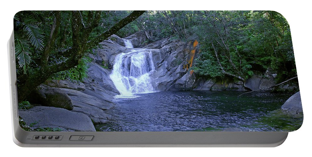 Tropical Portable Battery Charger featuring the photograph Josephine Falls And Tropical Pool by Kerryn Madsen- Pietsch