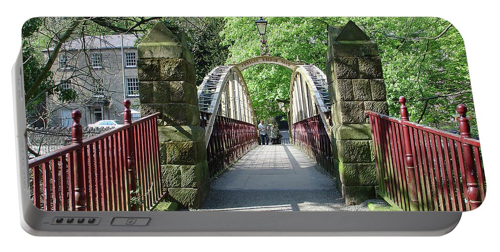 Maroon Portable Battery Charger featuring the photograph Jubilee Bridge - Matlock Bath by Rod Johnson