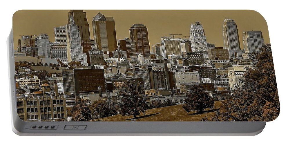 Architecture Portable Battery Charger featuring the digital art Kansas City Skyline by Anthony Dezenzio