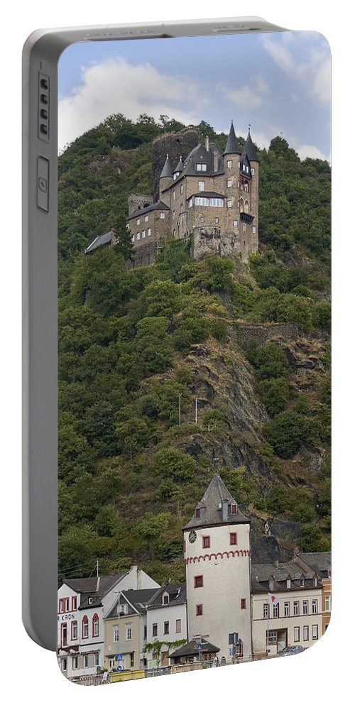 Katz Castle Portable Battery Charger featuring the photograph Katz Castle, Loreleystadt by Sally Weigand