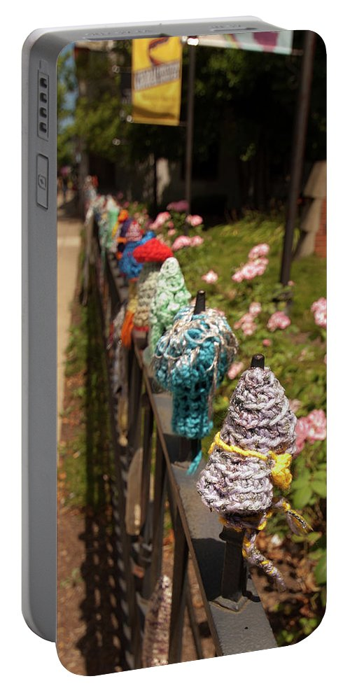 Abstract Portable Battery Charger featuring the photograph Knit Fence Protectors by Diane Schuler