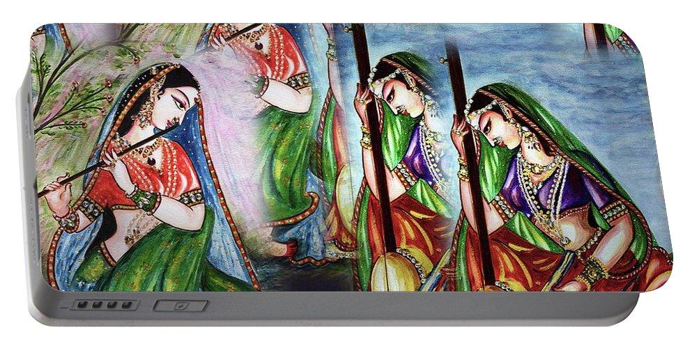 Meera Bai Portable Battery Charger featuring the digital art Krishna Prayer by Harsh Malik