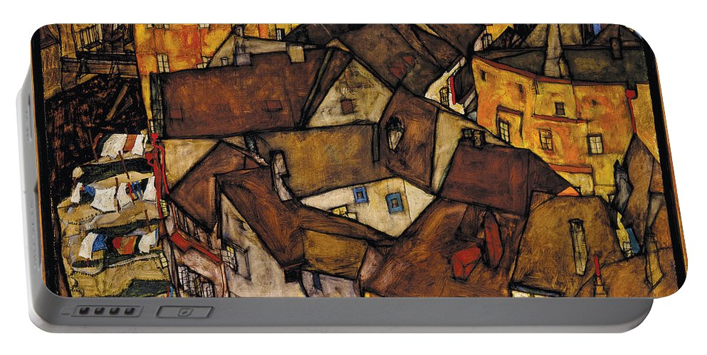 Schiele Portable Battery Charger featuring the photograph Krumau - Crescent Of Houses by Egon Schiele