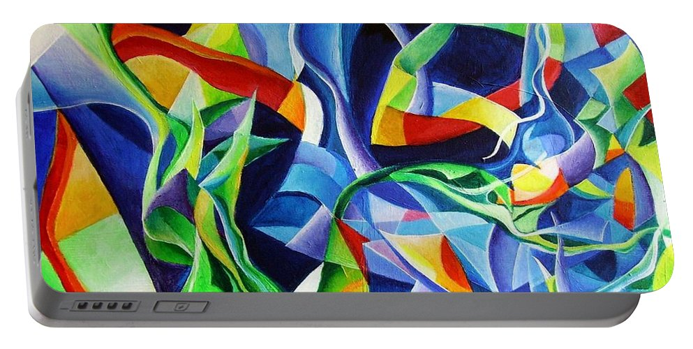 Claude Debussy Acrylic Abstract Pens Music Portable Battery Charger featuring the painting La Mer by Wolfgang Schweizer