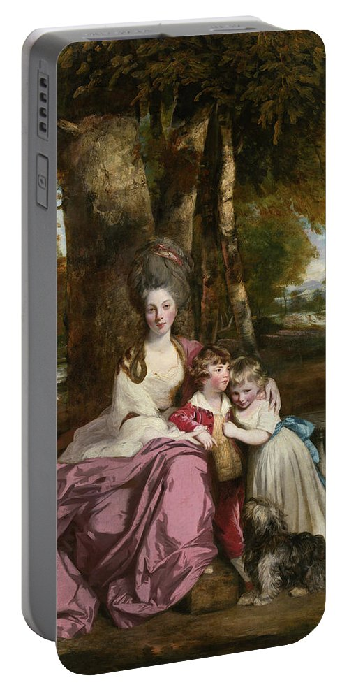 Animal Portable Battery Charger featuring the painting Lady Elizabeth Delme And Her Children by Joshua Reynolds
