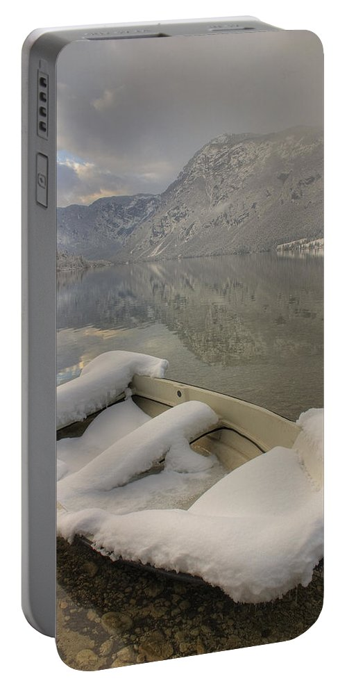 Beautiful Portable Battery Charger featuring the photograph Lake Bohinj In Winter by Ian Middleton