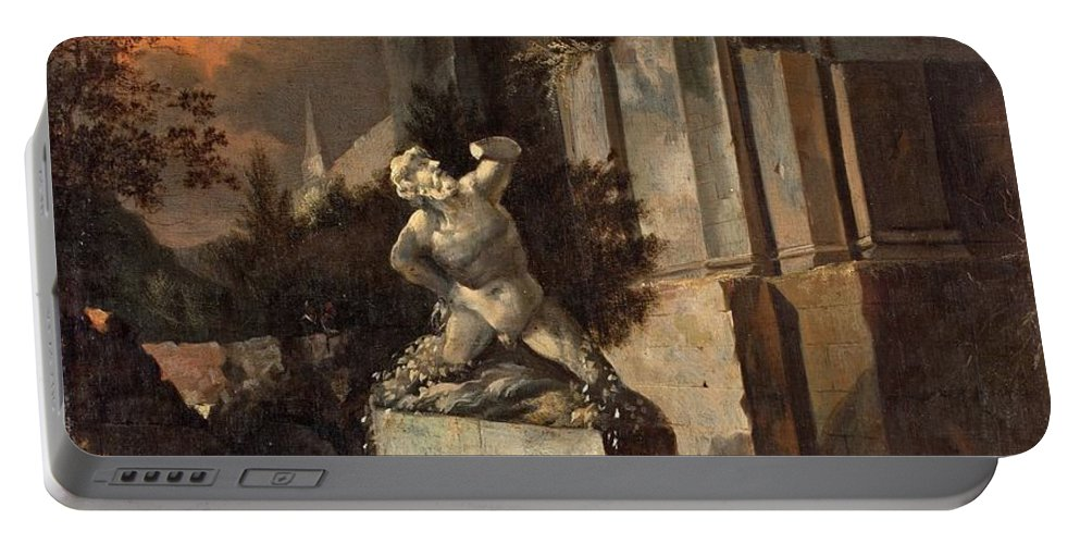Landscape With Ruins. Statue Portable Battery Charger featuring the painting Landscape With Ruins by MotionAge Designs