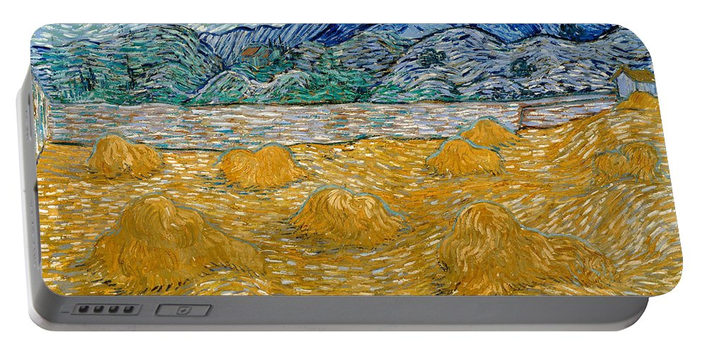 Country Portable Battery Charger featuring the painting Landscape With Wheat Sheaves And Rising Moon by Vincent van Gogh