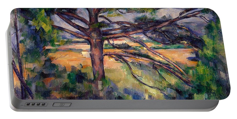 Country Portable Battery Charger featuring the painting Large Pine And Red Earth by Paul Cezanne