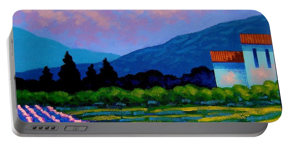 Landscape Portable Battery Charger featuring the painting Lavender Field France by John Nolan