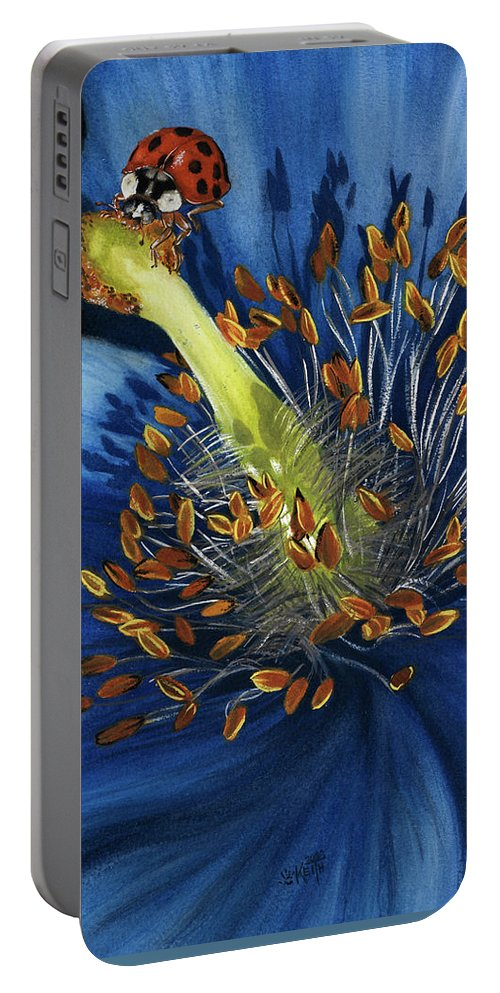 Flower Portable Battery Charger featuring the painting Lazuline by Barbara Keith