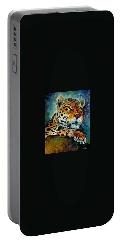 Animal Portable Battery Charger featuring the painting Leopard by Leonid Afremov