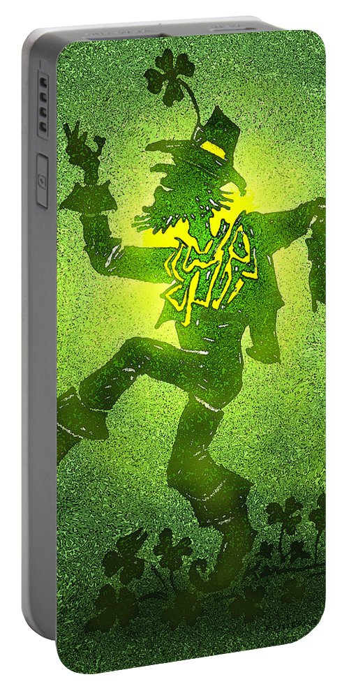 Leprechaun Portable Battery Charger featuring the painting Leprechaun by Kevin Middleton