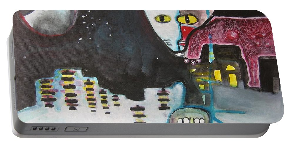 Cat Paintings Portable Battery Charger featuring the painting Let Me Out3 by Seon-Jeong Kim