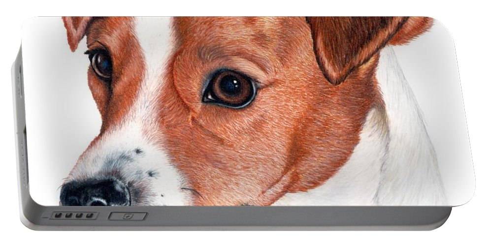 Jack Russell Terrier Portable Battery Charger featuring the drawing Lewie by Kristen Wesch