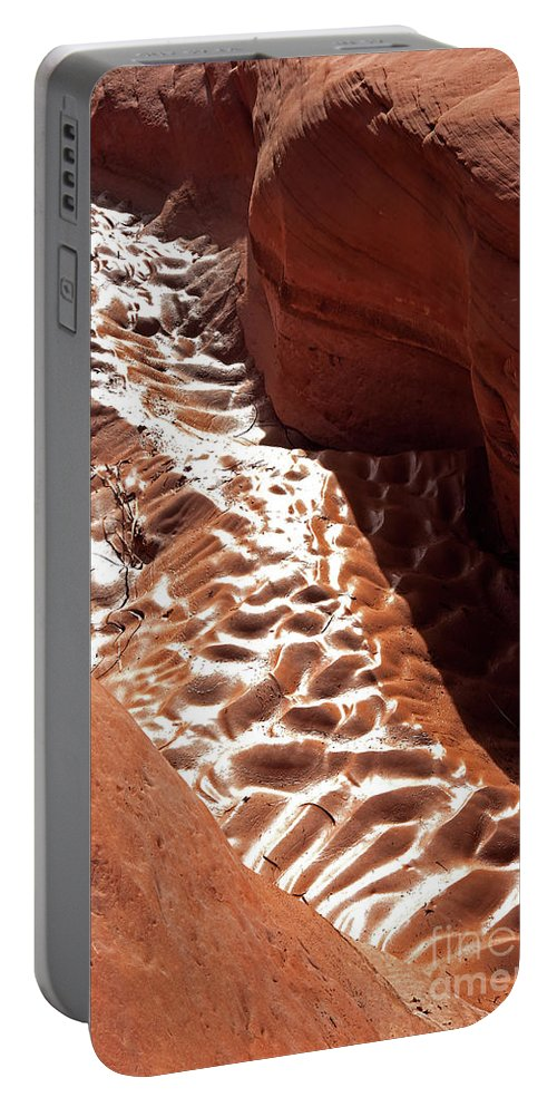 Portable Battery Charger featuring the photograph Light And Shadow In Mud by Frank Carter