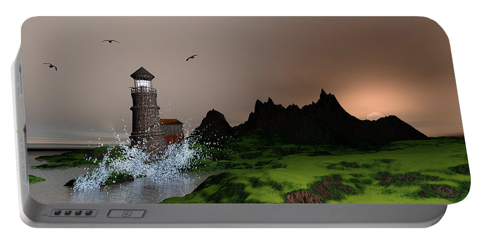 Art Portable Battery Charger featuring the digital art Lighthouse Landscape By John Junek Fine Art Prints And Posters by John Junek