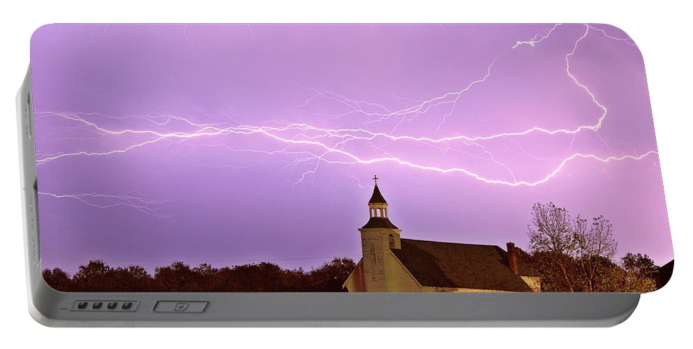 Old Portable Battery Charger featuring the digital art Lightning Bolts Over Spring Valley Country Church by Mark Duffy
