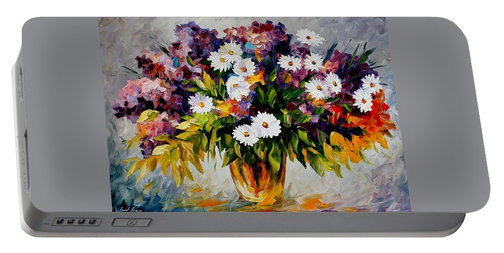 Afremov Portable Battery Charger featuring the painting Lilac And Camomiles by Leonid Afremov