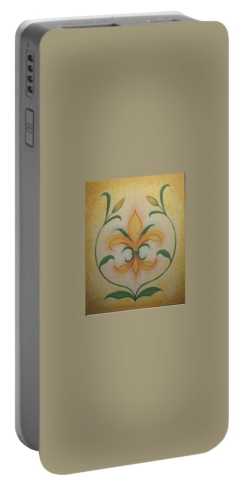Lilly Portable Battery Charger featuring the painting Lily Flower by Valerie Carpenter