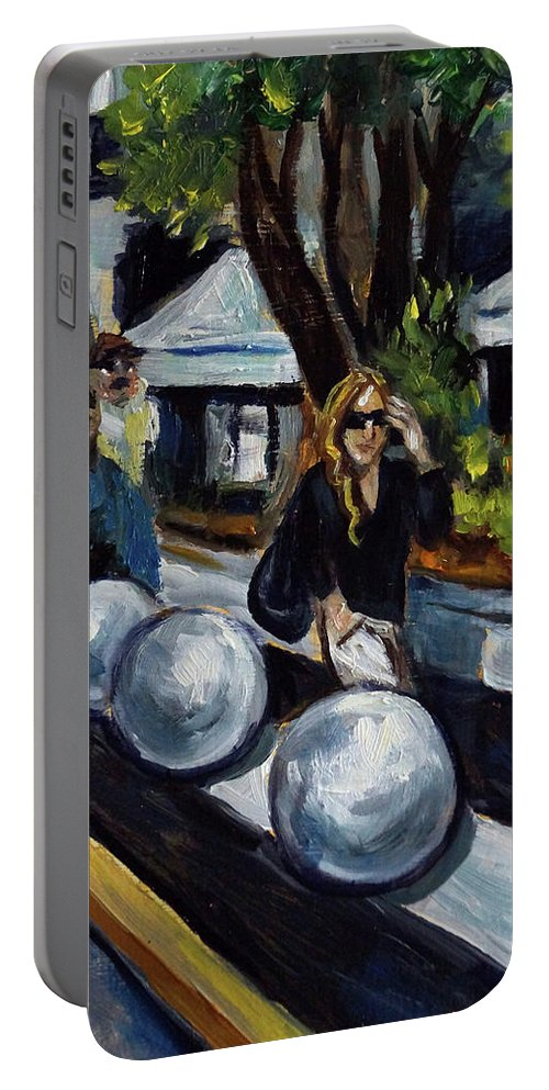 Sobe Portable Battery Charger featuring the painting Lincoln Road by Valerie Vescovi