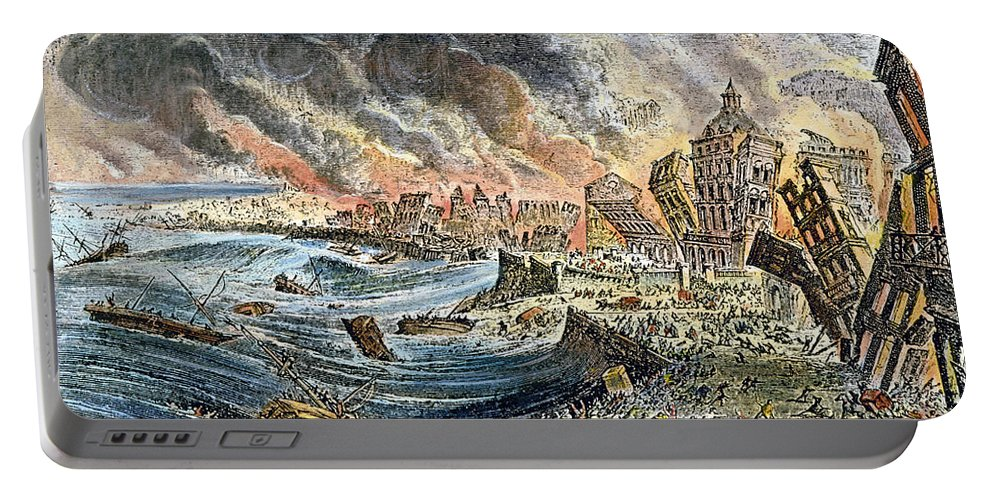 1755 Portable Battery Charger featuring the photograph Lisbon Earthquake, 1755 by Granger