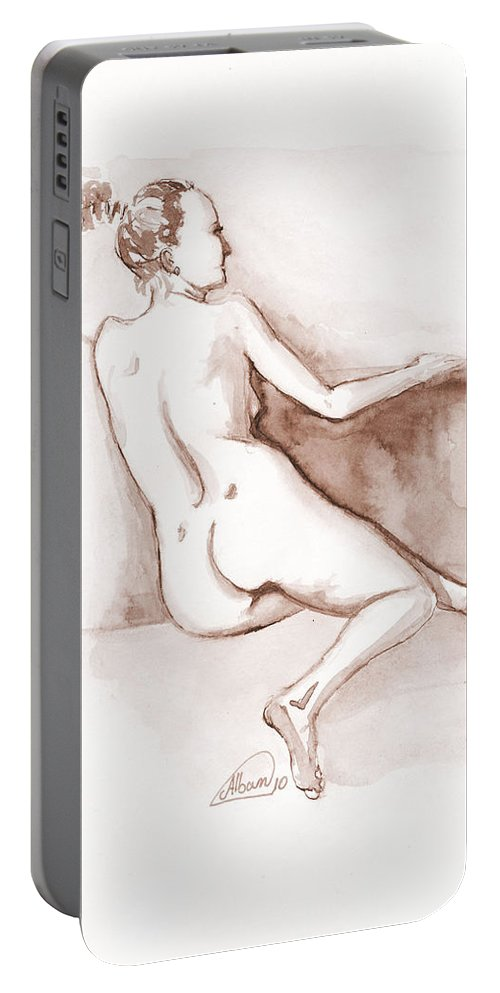 Nude Portable Battery Charger featuring the painting Live Model Figure  by Alban Dizdari