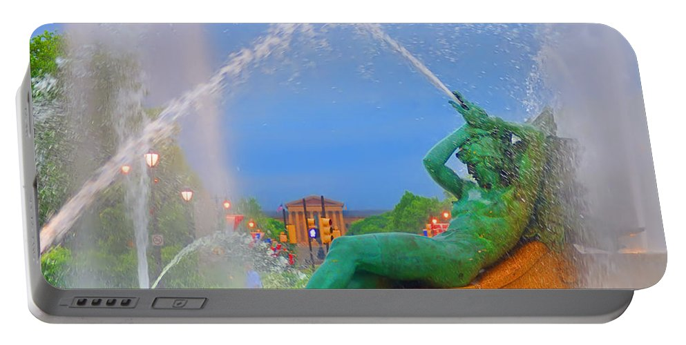 Fountain Portable Battery Charger featuring the photograph Logan Circle Fountain 1 by Bill Cannon
