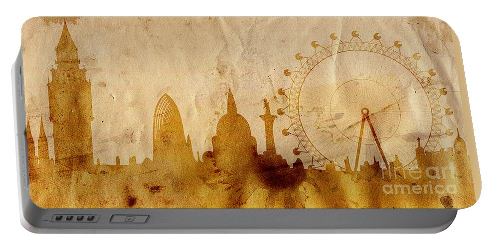 London Portable Battery Charger featuring the mixed media London by Michal Boubin