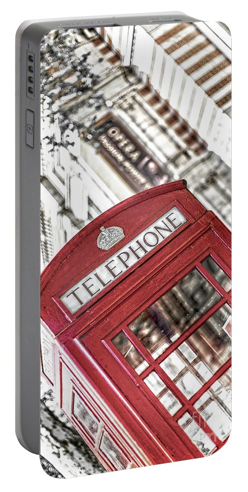 Big Ben Portable Battery Charger featuring the photograph London Telephone 3b by Alex Art and Photo