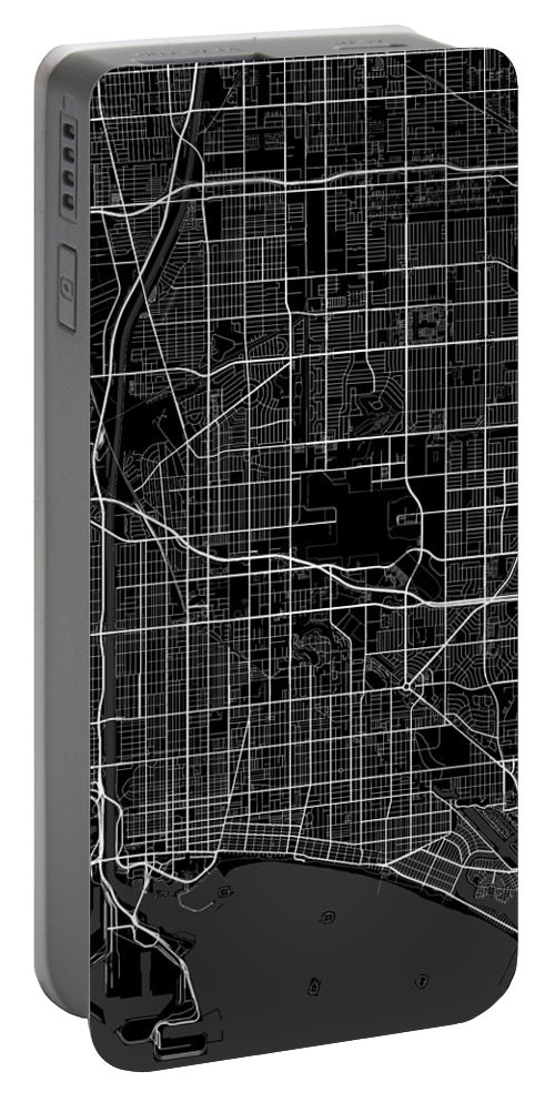 Road Map Portable Battery Charger featuring the digital art Long Beach California Usa Dark Map by Jurq Studio