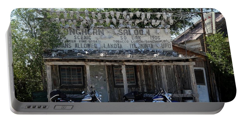 Motorcyle Biker Bar Skulls Portable Battery Charger featuring the photograph Longhorn Saloon by Cindy New